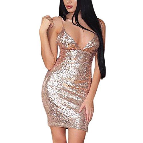 LAEMILIA Damen Abendkleid Pailletten kleider Reizvoll Trägerkleid Tief V  Auschnitt Spaghettikleid Schulterfrei Rückenfrei Cocktailkleid Golden  aLjI7IXjm f1e2f1e9a5