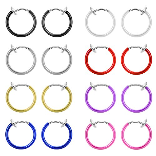 M-Tree Unisex Stainless Steel Assorted Nose Studs Body Jewelry Piercing Nose Hoop Ring (8 Pcs) Color Mixed