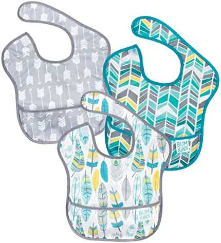 Bumkins SuperBib, Baby Bib, Waterproof, Washable, Stain and Odor Resistant, 6-24 Months, 3-Pack - Feathers, Quill, Arrows