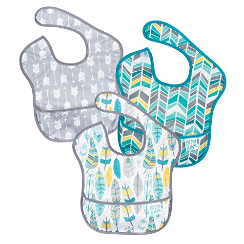 Bumkins SuperBib, Baby Bib, Waterproof, Washable, Stain and Odor Resistant, 6-24 Months, 3-Pack - Feathers, Quill, Arrows Bumkins All In One Diapers