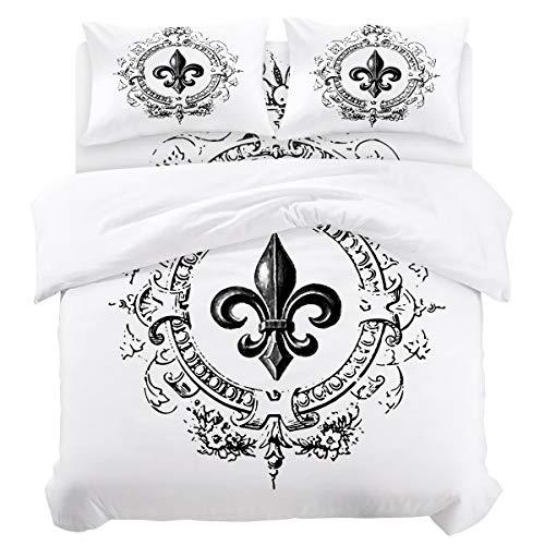 - Duvet Cover Sets - Vintage Royal Fleur De Lis Iris Flower 4 Piece King Bedding Sets Soft Microfiber Bedspread Comforter Cover and Pillow Shams for Adult/Children/Teens