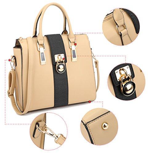 w Two Handbag Padlock Satchel Large Purse Strap beige Shoulder Z7229 Tone Designer Medium OCpqwX8n