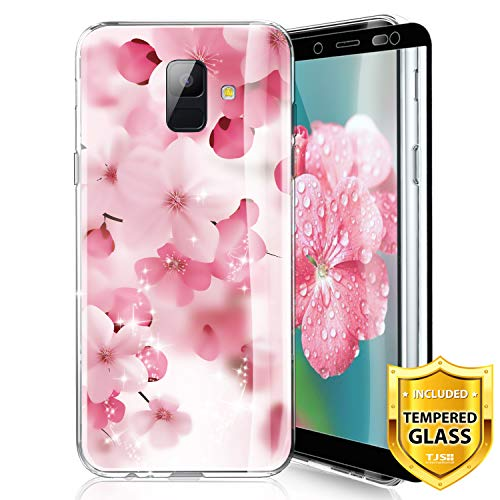 TJS Phone Case for Samsung Galaxy A6 2018, with [Full Coverage Tempered Glass Screen Protector] Ultra Thin Slim TPU Matte Color Marble Transparent Clear Soft Skin Protector Cover (Cherry ()