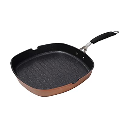 Just For Chefs Q2905 Asador 28x28x4.5cm Aluminio Forjado inducción Infinity, Cobre