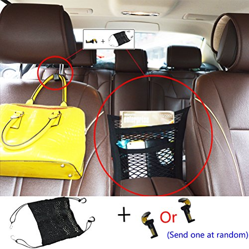 [Car Organizer with Bonus Purse Pouch Hook Durable Storage Net Seat Organizer for Cars Universal Safety Partition for Pets & Children (Black)] (Purses Net)