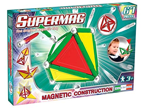 Supermag 3D Magnetic Tiles are New Advanced Magnetic Building Blocks for Kids in Vibrant Colors Compatible with All Rod and Ball Magnetic Sets 67 Piece Set from Supermag