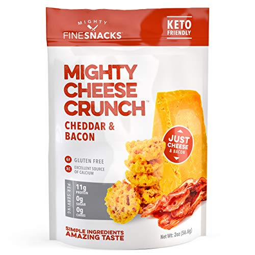 Cheddar & Bacon Cheese Crisps - Low Carb, Gluten Free, High Protein Healthy Crunchy Cheese – Savory, Keto & Diet Friendly Baked Cheese with Natural Ingredients, Pack of 4, 2oz Bags by Mighty Fine Snacks