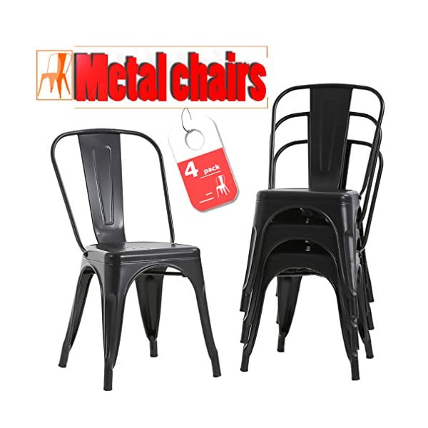 Stackable Chair Restaurant Chair Metal Chair Chic Metal Kitchen Dining Chairs Set...