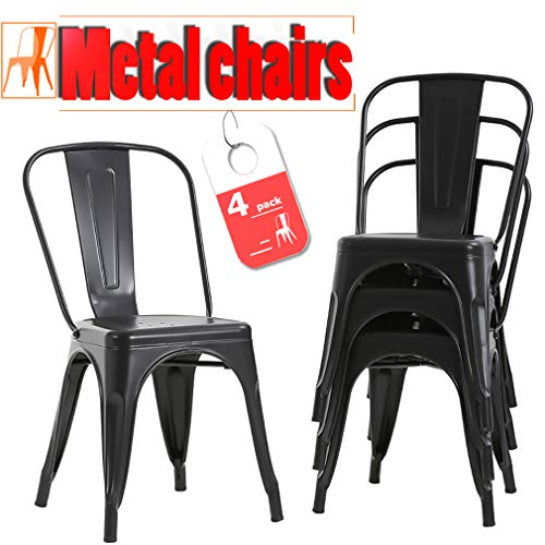 FDW Metal Dining Chairs Set Of 4 Indoor Outdoor Chairs Patio Chairs Kitchen Metal Chairs 18 Inch Seat Height Restaurant Chair Metal Stackable Chair Tolix Side Bar Chairs 330LBS Weight Capacity (Black Dining Room Table With White Chairs)
