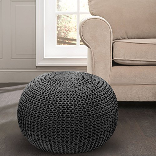 Great Home Discounts Hand Knitted Cable Pouf – Handmade Floor Ottoman with 100% Cotton Braid Cord – Super-Soft Hand Stitched Bean Bag Chair – Handcrafted Cable-Knit Foot Rest (Black)
