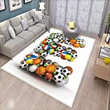 Letter E Floor Mat for Kids ABC of Sports Concept Different Gaming Balls First Name Initial Monogram Design Bath Mat Non Slip Multicolor