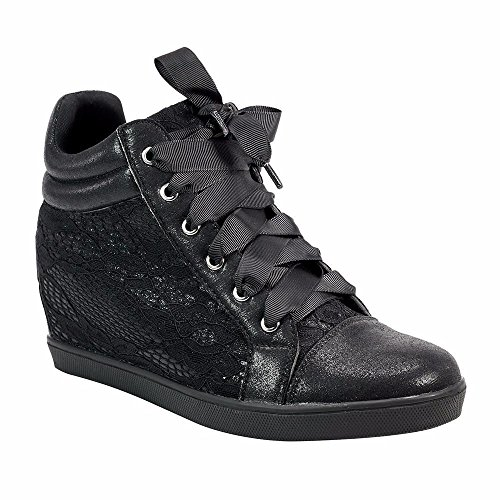 Angelina Womens Lace Platform Wedge Fashion Sneaker With Ribbon Laces Black woX1YNM2