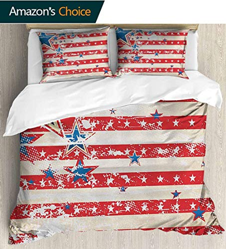 - American Flag Duvet Covers Queen Size Cotton,Box Stitched,Soft,Breathable,Hypoallergenic,Fade Resistant With 1 Pillowcase For Kids Bedding(87