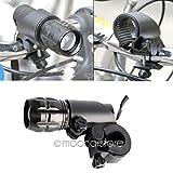 Soporte de luz Delantera para Bicicleta, con Clip de Linterna, Kit de luz LED para Bicicleta, Soporte de Linterna de 360 °, batería Recargable para luz Delantera de Bicicleta, Juego de Pinzas