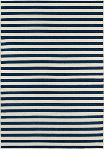Momeni Rugs BAJA0BAJ-1NVY1837, Baja Collection Contemporary Indoor & Outdoor Area Rug, Easy to Clean, UV protected & Fade Resistant, 1'8