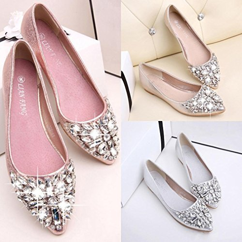 2018 New Shoes Spring Single Shoes Crystal Female Pointed Flat Shoes Pedal Set Foot Mom Pink 1RccE8DS