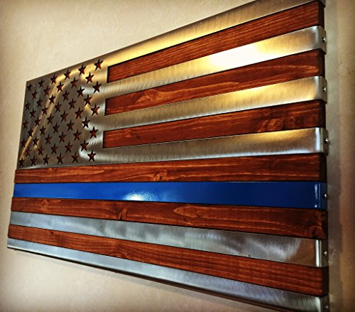 (Metal Art of Wisconsin Thin Blue Line 3 Dimensional Hand Oiled Pine Polished US Flag Metal Art 2-Foot)