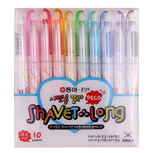 Price comparison product image Dong-a Shiny Shavet Long Deco Pen or Instax Mini Film Polaroid Photo Nail Art (Pack of 10)