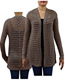 Textured Knit Cardigan Lace-up Detail on Back (Stone, Small)