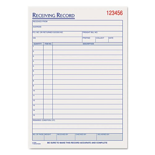 Wholesale CASE of 20 - Tops Carbonless Receiving Record Forms-Receiving Records Book, 3 Parts, 5-1/2
