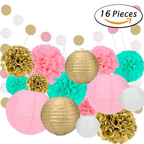 Light Coral Tulle Flower Decoration (16 Pcs Tissue Paper Pom Poms- Flowers Paper Lanterns and Polka Dot Paper Garland for Birthday/Wedding Party Decorations by Xage)