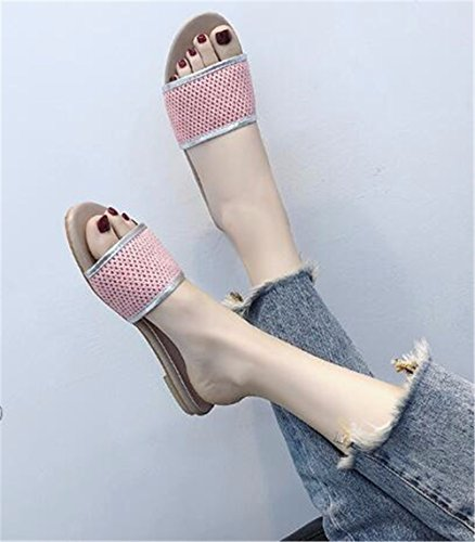 Al Libre Gaoqiangfeng De Aire Verano Señora Pink Patin Fondo Zapatillas Con Plano qr87YAq