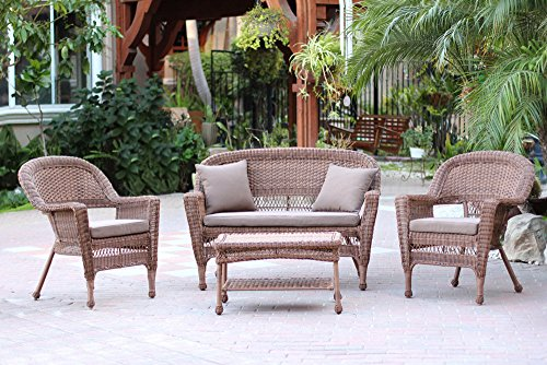 Jeco W00205-G-FS007 4 Piece Wicker Conversation Set with Cocoa Brown Cushions, Honey (Wicker Piece 4)