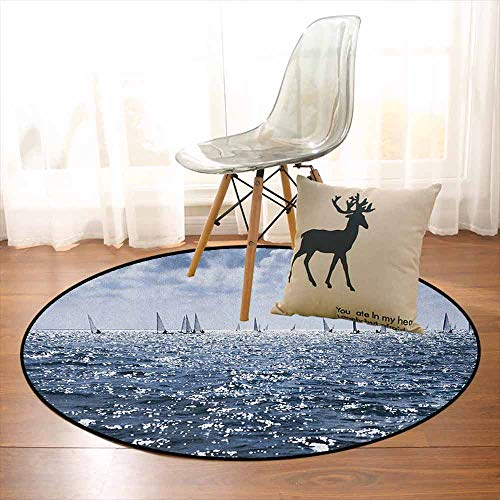 Nautical Bedroom Carpet Group of Sailing Boats in The Sea Competition Game Racing Sports Mediterranean Landscape for Various Areas D59 Inch Blue