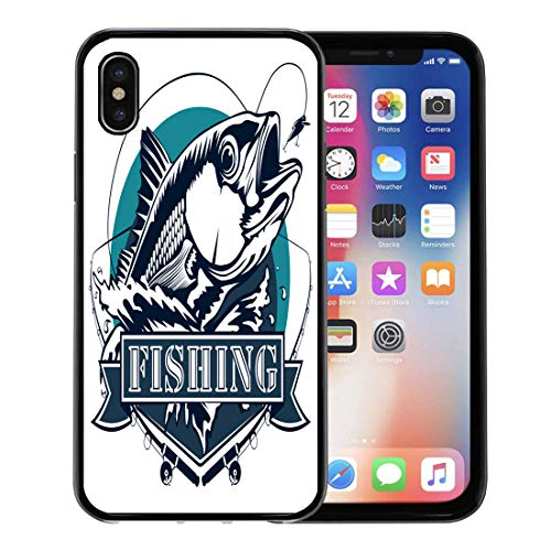 Semtomn Phone Case for Apple iPhone Xs case,Fish Red Snapper Rods and Ocean Waves Fishing White Fisherman Bass Redfish for iPhone X Case,Rubber Border Protective Case,Black