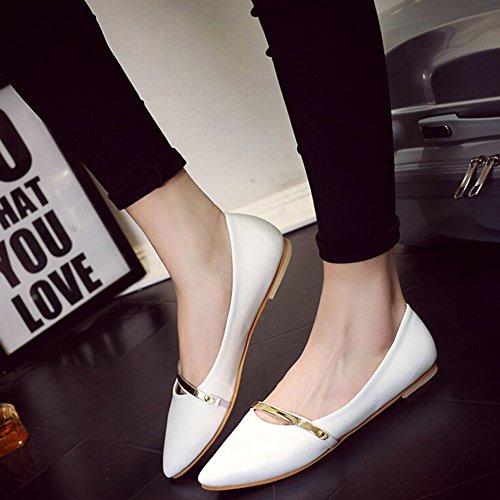 Angelliu Frauen Normallack zeigte flache Schuhe niedrigen Schlupf Sandalen Weiß
