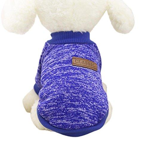 (Mikey Store Pet Dog Clothes Soft Thickening Warm Stripe Polar Fleece Winter Clothes (Dark Blue,)