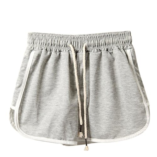 Leedford Women Short Yoga Pants Color Block Waist Band Flex Gym Workout Athletic Sport Running Short Pants Trouser (S, Gray) ()