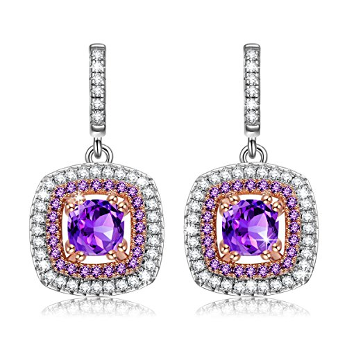 NINASUN Women Earrings Purple CZ Earrings Gifts for Her Impression s925 Sterling Silver Dangle Earrings Fine Jewelry for Women Gifts from for Mom Birthday Anniversary Gifts for Wife Girlfriend