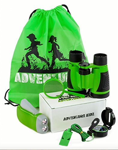 Adventure Kidz   Outdoor Exploration Kit  Children S Toy Binoculars  Flashlight  Compass  Fox Whistle  Magnifying Glass  Backpack  Great Kids Gift Set For Camping  Hiking  Educational  Pretend Play