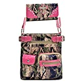 Western Camouflage Camo Cross Body Messenger Bag With Matching Wallet - Pink/CAM