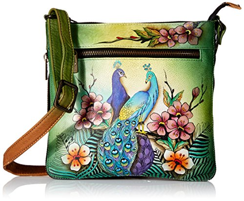 Anuschka Women's Genuine Leather Expandable Travel Crossbody | Hand Painted Original Artwork | Passionate -