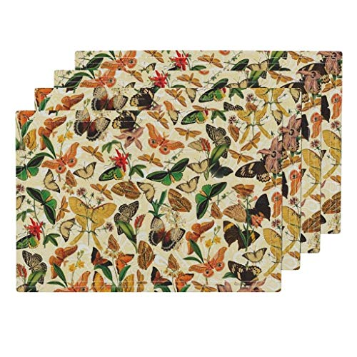 Promini Heat-Resistant Placemats, Nature Butterflies Washable Polyester Table Mats Non Slip Washable Placemats for Kitchen Dining Room Set of ()