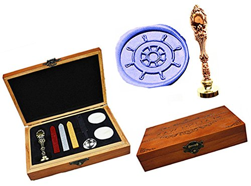 MNYR Vintage Compass Ship Steering Wheel Decorative Luxury Wood Box Rose Gold Metal Peacock Wedding Invitations Gift Cards Stationary Envelope Custom Wax Seal Sealing Stamp Stick Melting Spoon Box Set by MNYR (Image #1)