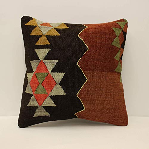 Cushion Case 2671 40x60 cm,Throw Pillow,Turkish Pillow,Pillow,Decorative Pillow,16x24 Brown Flat Kilim Pillow,Lumbar Pillow