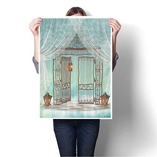 SCOCICI1588 Canvas Print Wall Art Artsy AnIr Gate of iry Garden with Lanterns Game Board Artwork for Wall Decor,28
