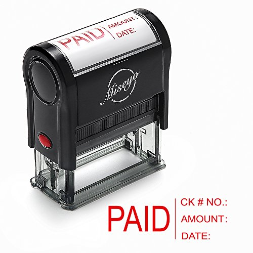 Miseyo PAID stamp Self Inking with Date, Check Number, Amount - Red Ink