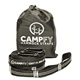 Comfy XL Hammock Tree Straps & Carabiners by CAMPFY - Lightweight, No Stretch, Quick & Easy, Tree Friendly Suspension System Kit, 12ft, 20 Loops, Perfect Accessories for Camping Hammocks