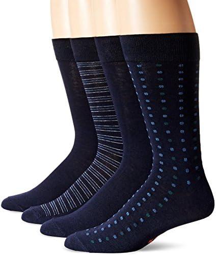 Dockers Men's Patterned Dress Socks, Navy (4 Pairs), Shoe Size: 6-12