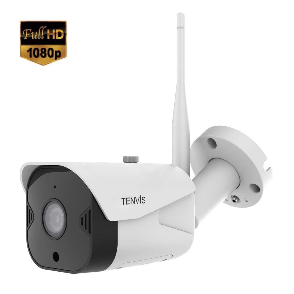 TENVIS Telecamera di sorveglianz Esterno 1080P Telecamera di Sicurezza a Visione Notturna e Audio Bidirezionale Microfono Videocamera WI-FI impermeabile IP66 Protezione della Famiglia