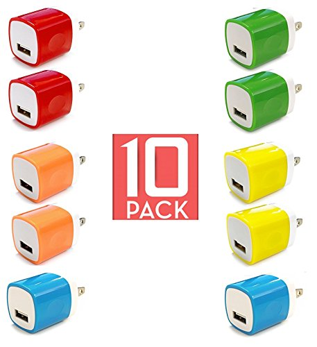Wall Charger, 10 Pack Universal Portable USB Power Adapter Plug Outlet for iPhone 7 / 6S / Plus, iPad, Samsung Galaxy, Motorola, HTC, Other Smartphones (Family Pack) (Random Colors)