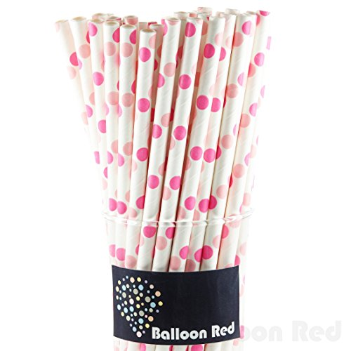 Biodegradable Paper Drinking Straws (Premium Quality), Pack of 50, Polka Dot - Pink (Homemade Food Halloween Costume)