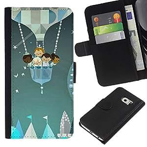 WINCASE ( No Para Normal S6 ) Cuadro Funda Voltear Cuero Ranura Tarjetas TPU Carcasas Protectora Cover Case Para Samsung Galaxy S6 EDGE - niños justas Estrellas globo de pintura