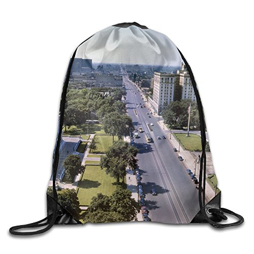 Unisex Woodward Avenue Michigan Large Water Resistant Storage Swimming Teamsport Formation Pocket Gymbag Gym Drawstring Bags Sackpack - Avenue Michigan Shopping