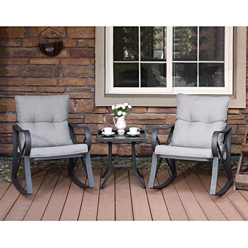 COSIEST 3-Piece Outdoor Patio Furniture Dark Gray Rocking Chairs Bistro Set w Warm Gray Cushions, Glass-Top Table for Garden, Pool, Backyard (Furniture Outdoor Rocking Bench)