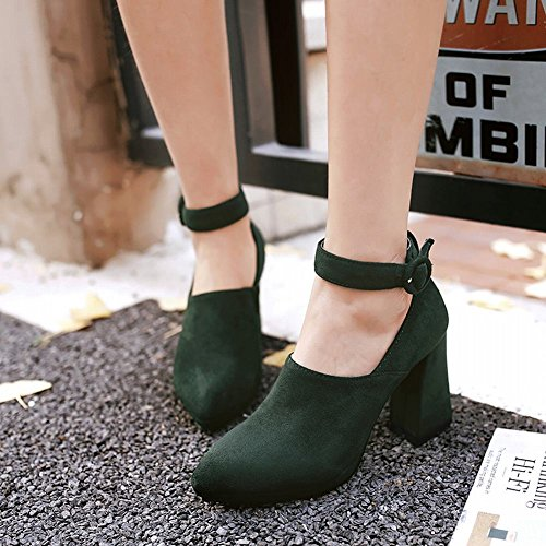 Mee Shoes Women's Fashion Block Heel Pointed Toe Ankle Strap Buckle Court Shoes Army Green GQ27e